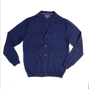 Club Room Mens Cardigan V Neck Button Up Navy Blue